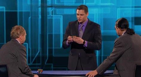 Magician Steven Brundage attempts to fool Penn & Teller